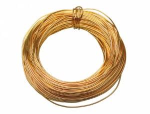 Drôt hliníkový dekoračný 60m / 2,0 mm / zlatý
