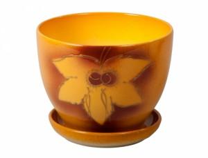 Květináč MUCHA SHEET d17cm/podm/oranžový matný
