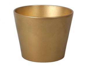 Květník CLIVIA CHRISTMAS d15cm/zlatý metalický/