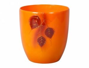 Květník KODET LEAVES 3 d16cm/oranžový lesk