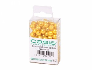 Perly dekorační 144ks d8mm/žluté