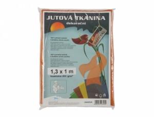 Tkanina dekorační 1.3x1m/juta/oranžová