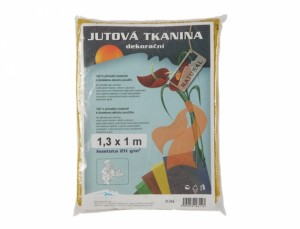 Tkanina dekorační 1.3x1m/juta/žlutá/211g