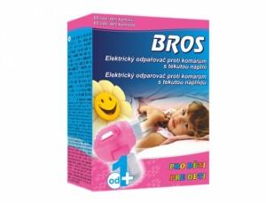 BROS-elektrický odpařovač proti komárům+tekutá náplň/děti/60nocí/
